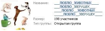 Оформление группы Вконтакте любителей зверушек