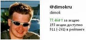 Акции на Twi Stock аккаунта в Твиттере Димка