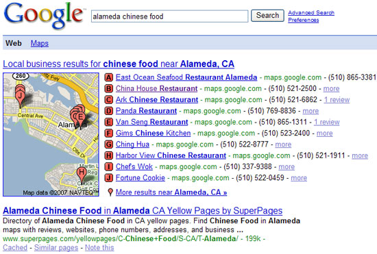 Google Local map