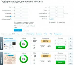 Подбор площадок под размещение на бирже WebArtex