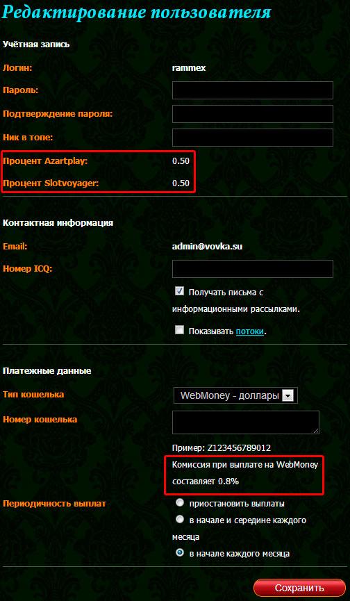 Профиль пользователя в Azartcash
