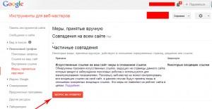 Кнопка подачи заявки на пересмотр сайта