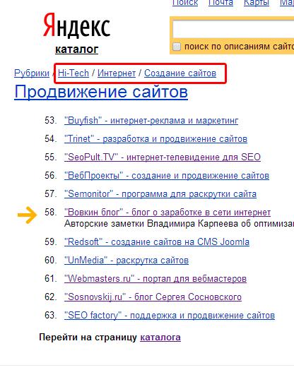 Пример иерархии сайтов в Яндекс Каталоге
