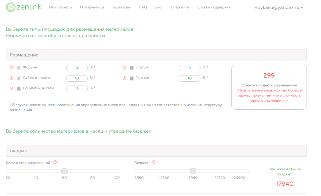 Статистика проекта в системе Zenlink.ru