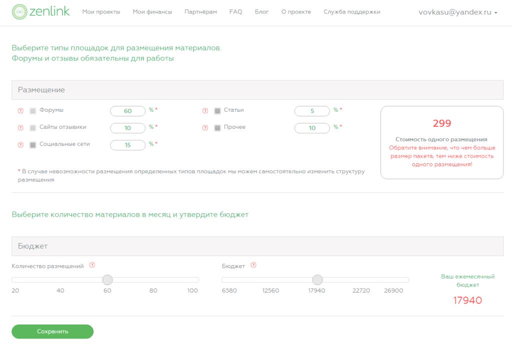 Пропорции распределения ссылок рекламной кампании в проекте Zenlink.ru