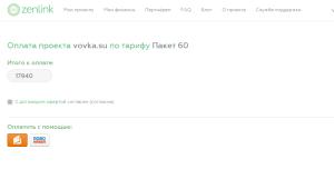 Оплата рекламной кампании в проекте Zenlink.ru