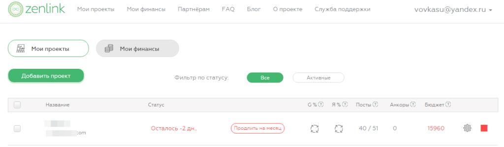 Рекламные кампании в Zenlink.ru